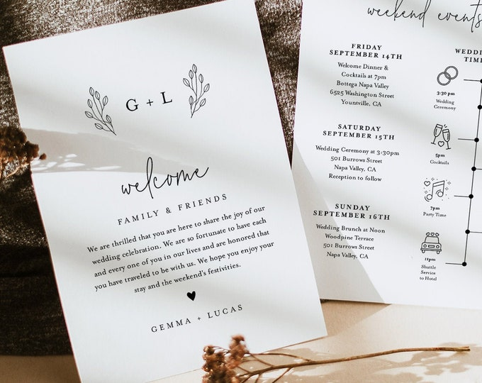 Monogram Welcome Letter & Timeline Template, Minimalist Wedding Order of Events, Itinerary, INSTANT DOWNLOAD, 100% Editable Text #095B-140WB