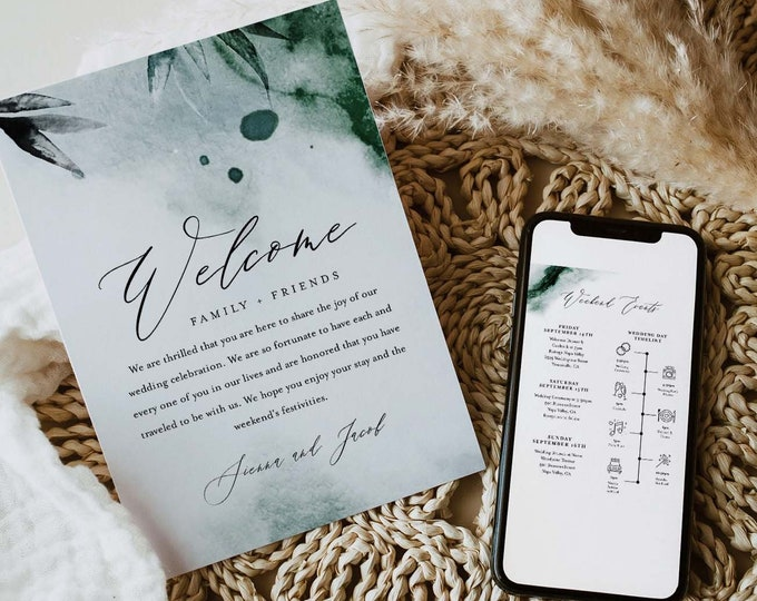 Watercolor Welcome Letter & Timeline Template, Minimalist Wedding Order of Events, Itinerary, INSTANT DOWNLOAD, Editable Text #0002-170WB