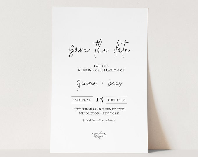 Minimalist Save the Date Template, 100% Editable Text, Modern Wedding Date Card, DIY, Templett, Digital, Instant Download #095A-178SD