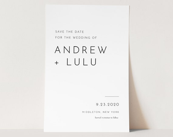 Minimalist Save the Date Template, 100% Editable Text, Modern Simple Wedding Date, DIY, Templett, Digital, Instant Download #094-164SD