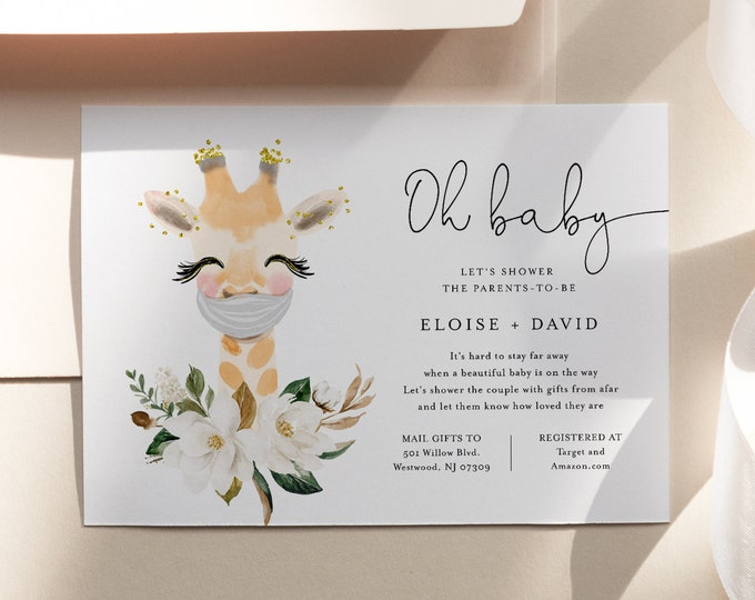 Baby Shower by Mail Template, Social Distancing Shower Invite, Baby Giraffe, 100% Editable Text, Instant Download, Templett #0008-186BA