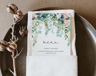 Lush Garden Wedding Menu Printable, INSTANT DOWNLOAD, Greenery Dinner Menu Card Template, 100% Editable Text, DIY, Templett #068A-177WM