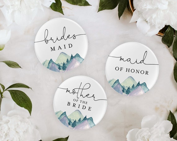 """Bridal Party Button Template, Rustic Mountain, Bridal Shower Pins, Bachelorette Buttons, Instant Download, Templett, 2.25"""" Pin #063-101BPB"""