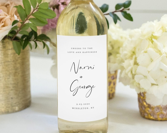 Modern Wine Bottle Label Template, Minimalist Wedding Wine Favor, 100% Editable, Custom Wine Label, Instant Download, Templett #096-116WL