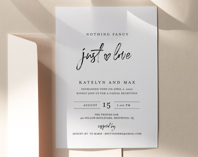 Minimalist Reception Invitation, Modern Elopement Reception Party Invite, 100% Editable Template, INSTANT DOWNLOAD, Templett #090-123EL