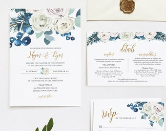 Winter Wedding Invitation Set, Eucalyptus, Pine, Holly, Editable Template, Rustic Invite, Details, RSVP, Instant Download, Templett #091C
