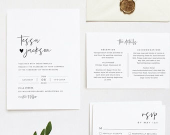 Minimalist Wedding Invitation Suite, 100% Editable Template, INSTANT DOWNLOAD, Invite, RSVP, Details Card, Simple & Modern, Templett #088A