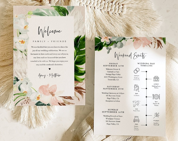 Tropical Welcome Letter & Itinerary Template, Beach Wedding Order of Events, Welcome Bag Timeline, INSTANT DOWNLOAD, Templett #079-167WB