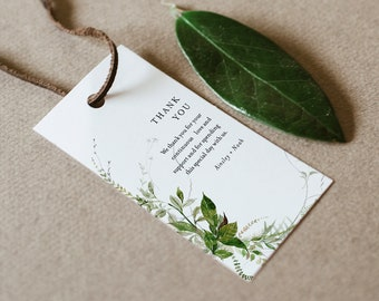 Modern Greenery Favor Tag for Bridal Shower or Wedding, Thank You Tag, INSTANT DOWNLOAD, Editable Text, Printable, Templett #0011-170FT