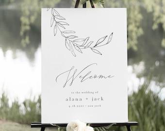 Wedding Welcome Sign, Minimalist Wedding Poster, Fine Art Laurel, 100% Editable Template, Instant Download, Printable, Templett #0006B-210LS