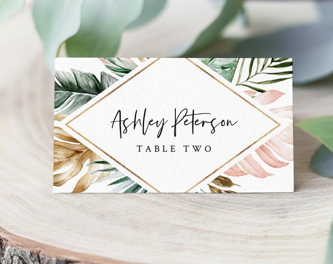 Tropical Place Card Template, Printable Lush Greenery Wedding Escort Card with Meal Option, INSTANT DOWNLOAD, Editable, Templett #087-143PC