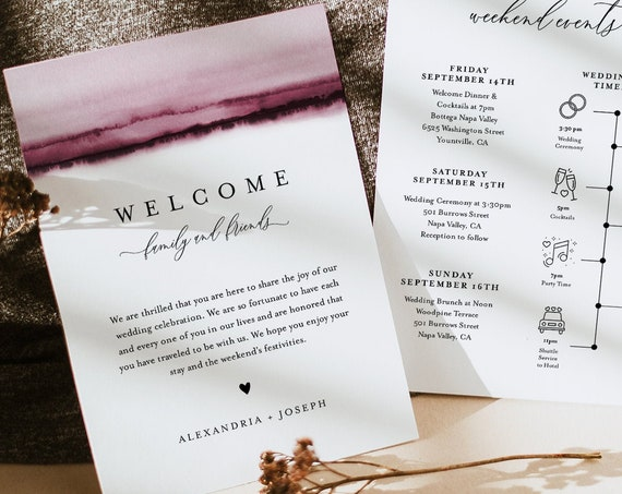 Watercolor Welcome Letter & Timeline Template, Minimalist Wedding Order of Events, Itinerary, INSTANT DOWNLOAD, Editable Text #093B-143WB