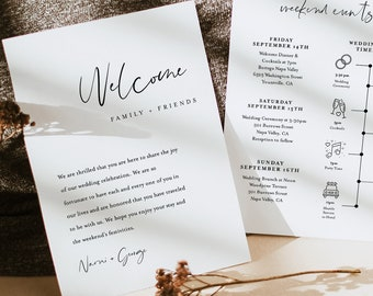 Minimalist Welcome Letter & Timeline Template, Modern Wedding Order of Events, Itinerary, INSTANT DOWNLOAD, 100% Editable Text #096-142WB