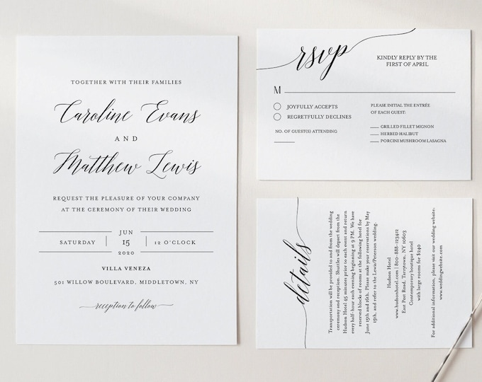 Simple Wedding Invitation, Printable Modern Calligraphy Wedding Invite, RSVP, Details, Instant Download, 100% Editable Template #034A