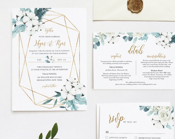 Wedding Invitation Set, Winter Cotton & Greenery, Watercolor Eucalyptus, Pine, Editable Template, INSTANT DOWNLOAD, Templett #091A