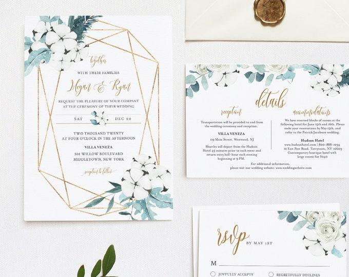 Wedding Invitation Set, Winter Cotton & Greenery, Watercolor Eucalyptus, Pine, Editable Template, INSTANT DOWNLOAD, Templett #091A