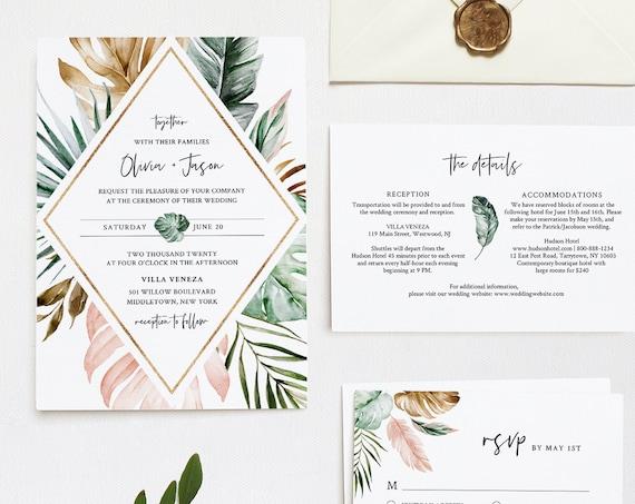 Tropical Wedding Invitation Suite, Editable Template, Destination Beach Wedding Invite, RSVP and Details, INSTANT DOWNLOAD, Templett #087B