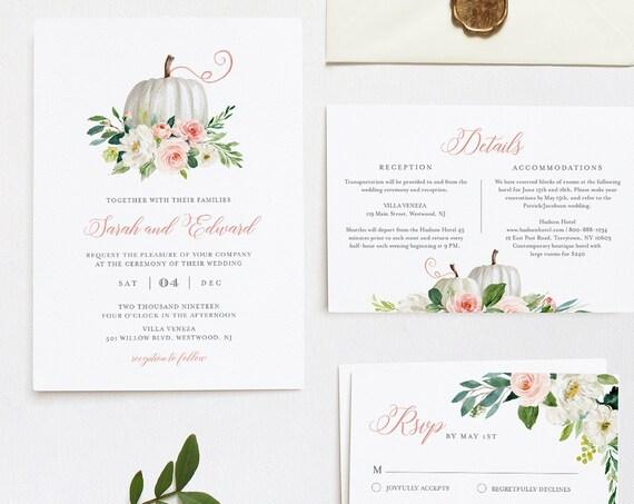 Pumpkin Wedding Invitation Suite, Fall, Autumn, Bohemian, Editable Template, Invite / RSVP / Details, INSTANT DOWNLOAD, Templett #072B