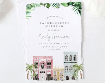Charleston Bachelorette Weekend Invitation & Itinerary, Rainbow Row, Editable Template, Templett, Instant Download, Printable #017-135BP