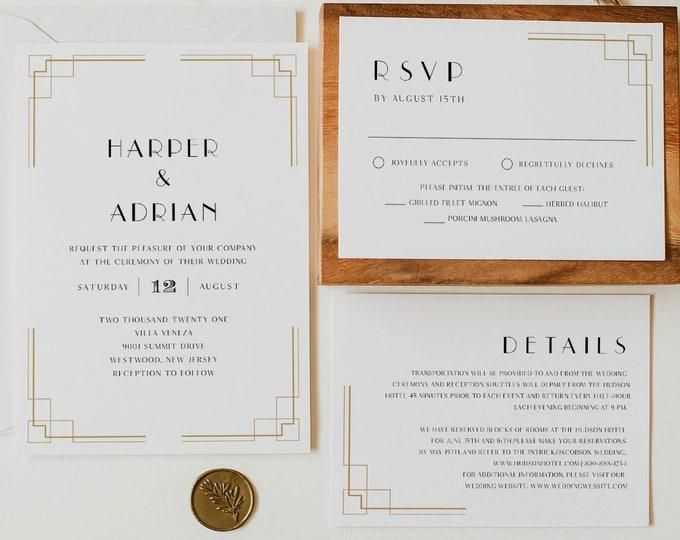 Minimal Art Deco Wedding Invitation, Printable Retro Black and Gold Wedding Invite, Editable Template, Instant Download, Templett #0021C
