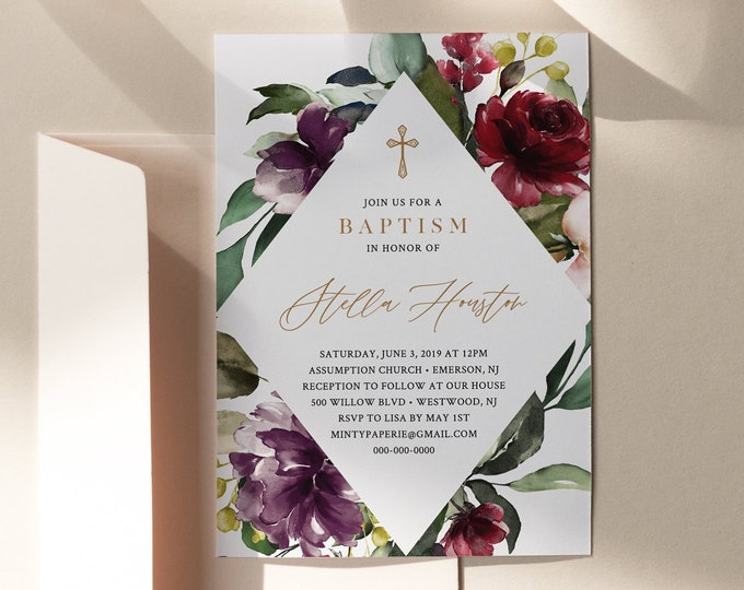 Baptism Invitation Template, Printable Girl Christening Invite, Winter Florals, 100% Editable Text, Instant Download, Templett #006-103BC