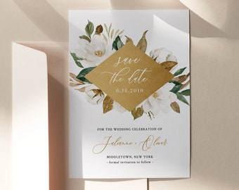 Save the Date Template, Magnolia, Cotton & Gold, Southern Wedding Date, 100% Editable Text, Instant Download, Templett, 4x6, 5x7 #015-144SD