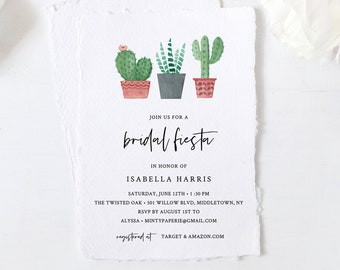 Fiesta Bridal Shower Invitation Template, Cactus Succulent Wedding Shower Invite, 100% Editable Text, Printable, INSTANT DOWNLOAD #086-241BS