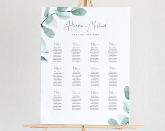 Eucalyptus Seating Chart Template, Printable Wedding Seating Sign, Instant Download, Greenery Boho Wedding, US & UK Poster Size #049-232SC