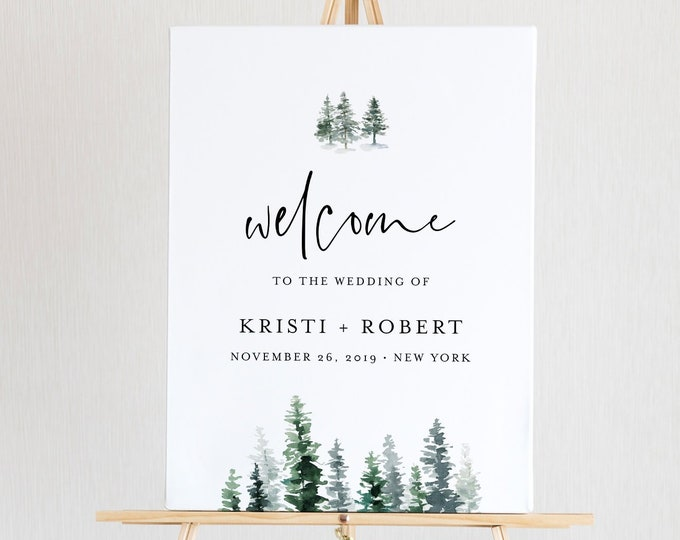 Welcome Sign Template, 100% Editable Text, Winter Rustic Pine Wedding Poster Sign, Bridal Shower, Instant Download, Templett, DIY #073-145LS