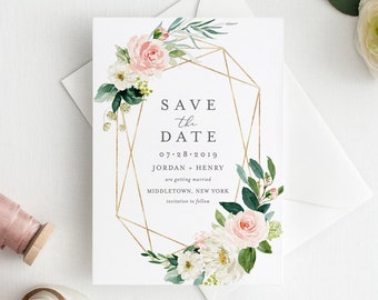 Boho Save the Date Template, Printable Wedding Date Card, Blush Floral & Gold, Instant Download, 100% Editable Text, Templett, DIY 043-142SD