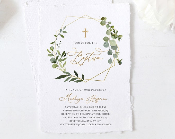 Baptism Invitation Template, Boy or Girl Baptism Invite, Greenery Christening, 100% Editable Text, INSTANT DOWNLOAD, Templett #056-113BC