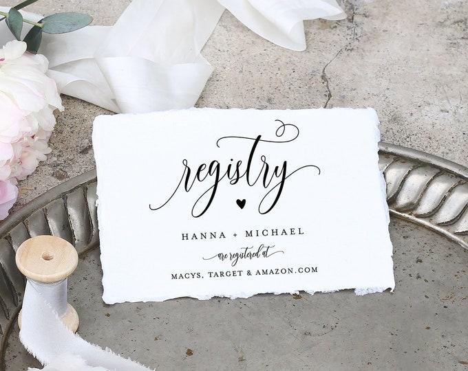 Registry Card Template, Bridal Shower Registry Insert, Wedding Registry, 100% Editable, Printable Enclosure Card, INSTANT DOWNLOAD 008-127EC