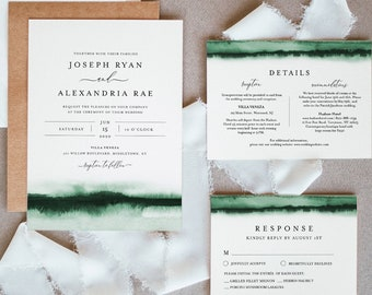 Emerald Watercolor Wedding Invitation Set, Invite, RSVP, Details, Modern, Minimalist, Editable Templates, Instant Download, Templett #093C