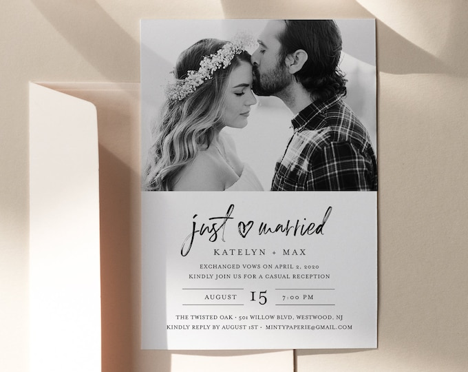 Elopement Reception Invitation, Minimalist Modern Reception Party Invite, 100% Editable Template, INSTANT DOWNLOAD, Templett #090-126EL