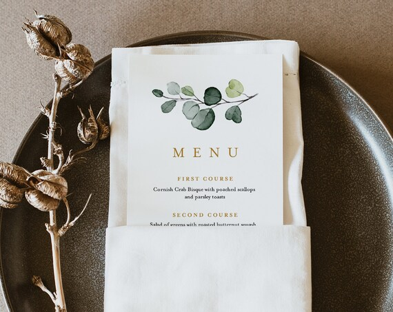 Greenery Menu Template, Modern, Elegant, INSTANT DOWNLOAD, Printable Wedding Dinner Menu Card, 100% Editable Text, Templett #007-166WM