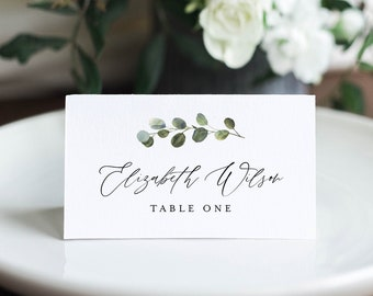 Greenery Wedding Place Card Template, Printable Escort Card, Name Card, Minimalist Seating Card, Instant Download, 100% Editable #082-165PC
