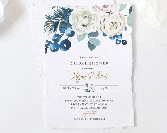 Winter Couples Shower Invitation, Editable Bridal Shower Template, Holiday, Holly, Rose, INSTANT DOWNLOAD, Printable, Templett #091-255BS