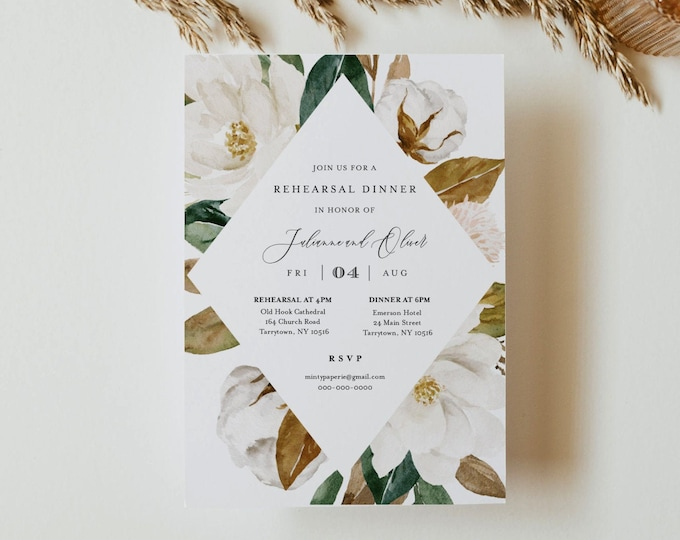 Magnolia Rehearsal Dinner Invitation Template, Rehearsal Invite, Southern Wedding, 100% Editable Text, Instant Download, Templett #015-153RD