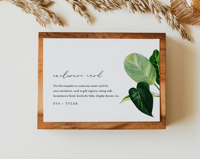 Enclosure Card, Modern Tropical Wedding Invitation Insert, Baby Shower Insert, Editable Details, Info Card, Instant Download #0012-170EC