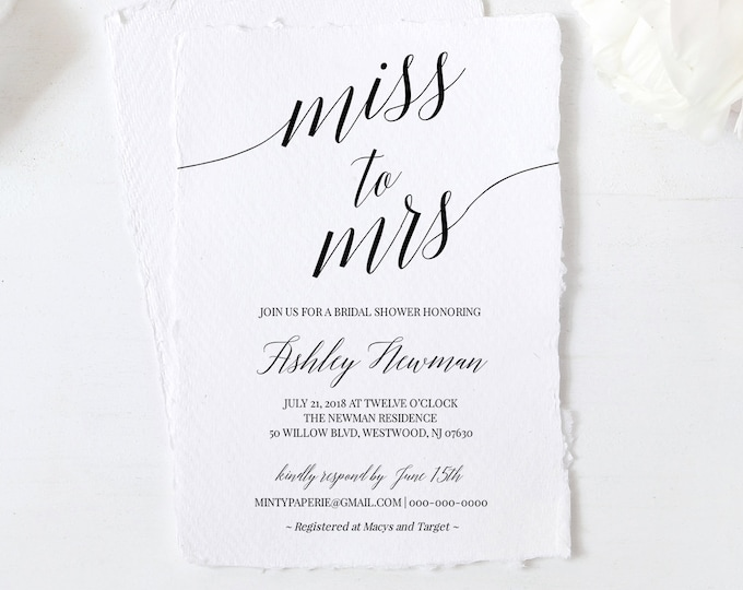 Bridal Shower Invitation Template, Printable Wedding Shower Invite, Miss to Mrs, Instant Download, Fully Editable, DIY, Templett #034-102BS