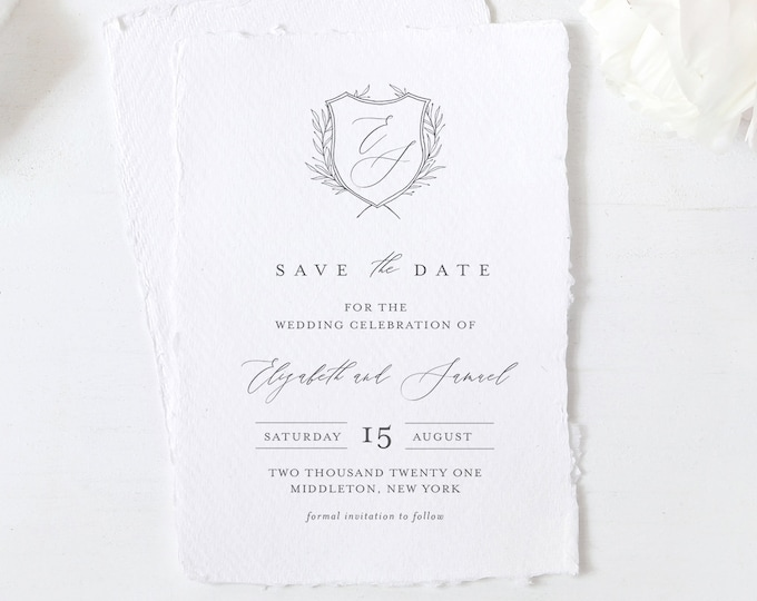 Monogram Crest Save the Date Template, Minimalist Classic Wedding Date, Printable Save Our Date, Instant Download, Templett, 4x6 #0007-177SD