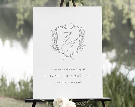 Monogram Crest Welcome Sign, Minimalist Wedding Logo Poster, 100% Editable Template, Instant Download, Printable, Templett #0007-209LS