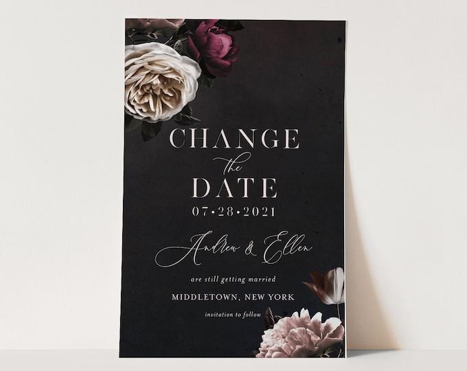 Change the Date, Postponed Wedding Date Postcard, Wedding Reschedule Announcement, 100% Editable, Instant Download, Templett #009-116PA2