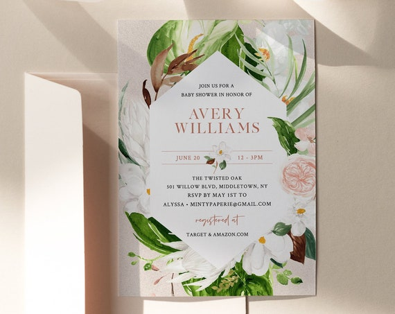 Lush Greenery Baby Shower Invitation, Summer Foliage, Printable Boy / Girl Baby Shower Invite, INSTANT DOWNLOAD, Editable Template 079-119BA
