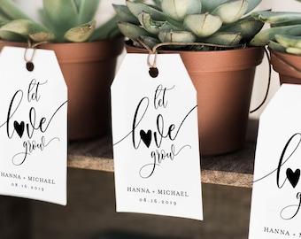 Wedding Favor Tag Template, Let Love Grow Tag, Bridal Shower Favor Tag, Baby Shower Tag, 100% Editable, Succulent Plant Favor #008-120FT