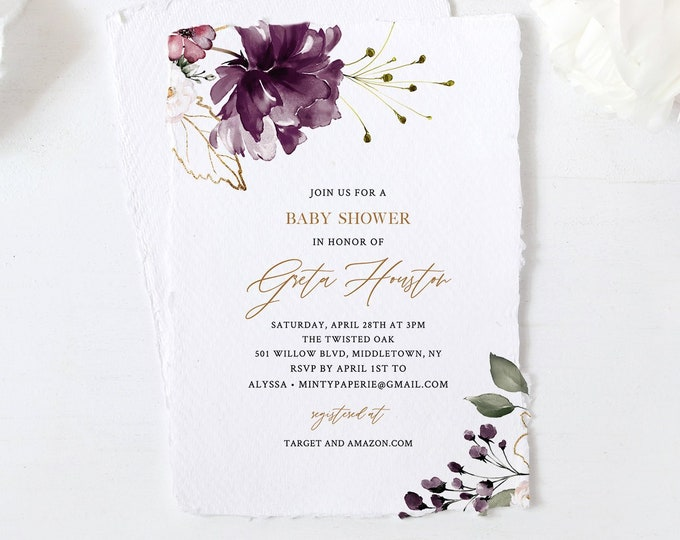Purple Floral Baby Shower Invitation Template, Greenery and Gold, Printable Invite, 100% Editable Text, Instant Download, Templett 006-107BA