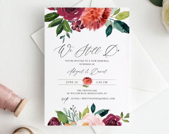 Vow Renewal Invitation Template, INSTANT DOWNLOAD, Printable Summer Wedding Anniversary Invite, We Still Do, 100% Editable Text #002-121VR