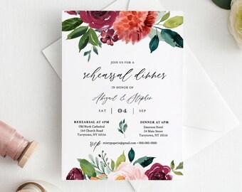 DIY Rehearsal Dinner Invitation, INSTANT DOWNLOAD, Editable Template, Printable Wedding Rehearsal Invite, Burnt Orange Florals #002-145RD