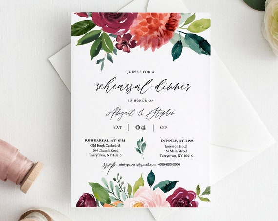 DIY Rehearsal Dinner Invitation, INSTANT DOWNLOAD, Editable Template, Printable Wedding Rehearsal Invite, Burnt Orange Florals #002-145RD