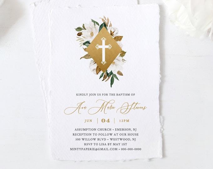 Baptism Invitation Template, Boy or Girl Christening Invite, Magnolia & Gold, 100% Editable Text, Instant Download, Templett, DIY #015-101BC